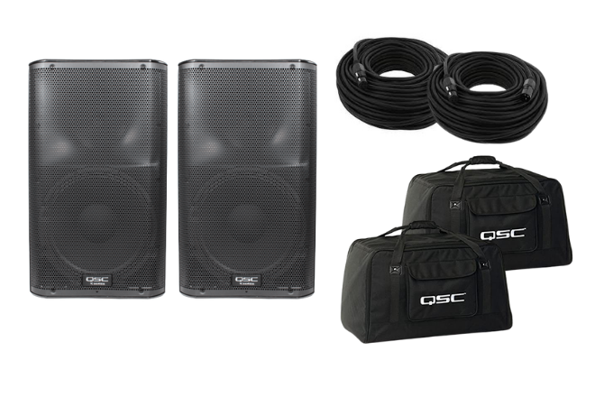 Two QSC K12 Powered Speakers w/ Bags + Speaker Stands, 100 foot XLR Cables